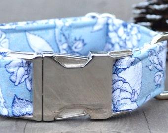 Silvia. Dog Collar, Floral, Blue, Metallic, Metal Hardware, Martingale Collar, Handmade Collar