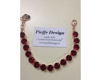 Bracelet with Swarovski diamonds 8 mm Ruby