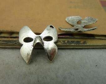 20 Mask Charms Antique Silver Tone
