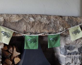 Badger bunting - Screen printed linen