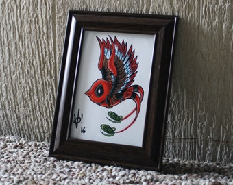 Birdpool Original Colored Pencil Art, (framed)