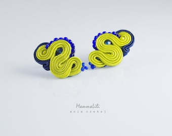 Charming earrings - made screw technique soutache.