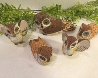 Vintage Hand Carved  Wooden  Owls Asortment of Five