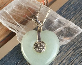 Vintage Jade heart pendant with sterling silver chain, Fu blessings, Chinese character, silver