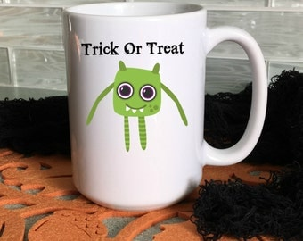 Halloween Mug With Green Monster , Cute Halloween Mug for Kids, Trick or Treat Mugs, Cocoa Mugs, 15 oz,  11 oz, Halloween Decorations