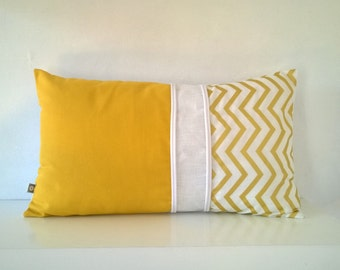 Cushion cover rectangular yellow white and gold