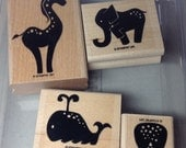 Stampin' Up! Retired Stamp Set Animal Stories with an Owl, Whale, Giraffe, and Elephant
