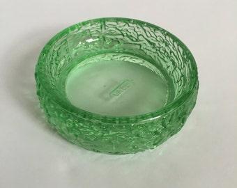 Green glass trinket dish