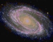 Spiral Galaxy Hubble Telescope Cross Stitch pattern PDF - EASY chart with one color per sheet And regular chart! Two charts in one!