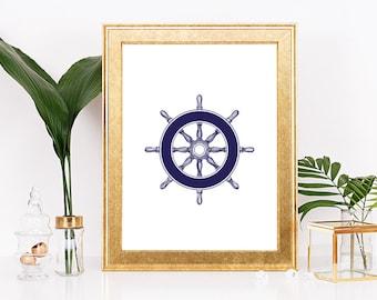 Navy Ship Wheel Art Print, Ship Wheel Decor, Nautical Wall Decor, Nursery Decor, Modern Print, Navy Blue Ship Wheel, Sailor Decor, Sailor
