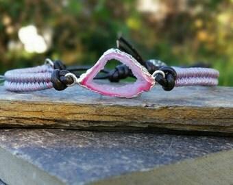 druzy wrap bracelet, boho leather wrap bracelet, woven friendship bracelet, gemstone bracelet, Leather wrap, festival bracelet