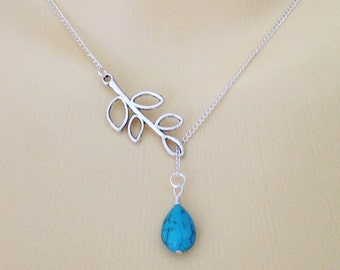 Turquoise necklace - lariat necklace - leaves necklace - woman necklace - friendship gift - birthday