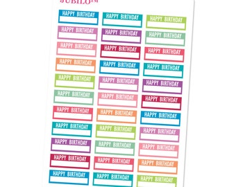 Planner Stickers - Happy Birthday Labels