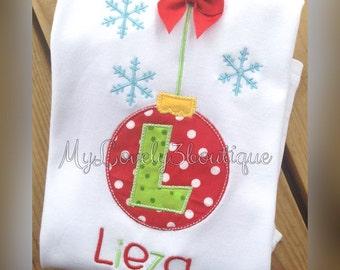 Girls christmas shirt, Boys Christmas shirt, Christmas ornament shirt, Monogrammed Christmas shirt, Ornament shirt
