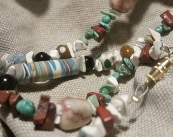 Mixed beaded necklace, polymer, turquoise, serpentine, glass, beads