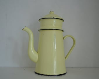 Vintage French Yellow and Black Enamel Coffee Pot