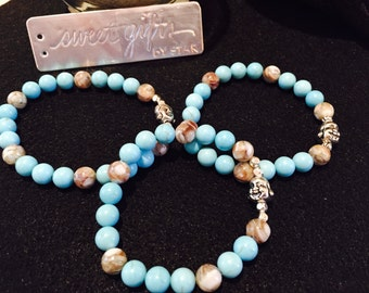 Turquoise and natural stones with silver finish Buddha or charm of choice