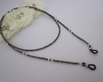 Metallic Brown, Beaded Eyeglass Chain, Swarovski Crystal, Eyeglass Holder, Lanyard, Eye Glass Necklace, Reading Eyeglass Holder