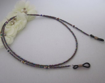 Metallic Mauve 2, Purple, Beaded Eyeglass Chain, Eyeglass Holder, Lanyard, Eye Glass Necklace, Reading Eyeglass Holder