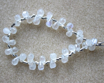 AA Rainbow Moonstone Faceted Briolette Drops