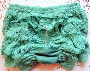 Turquoise Bloomer Front and Back Lace Ruffle Bloomer Diaper Cover with Lace Ruffles All Around, Baby Toddler Ruffled Bloomer Petti Bloomer