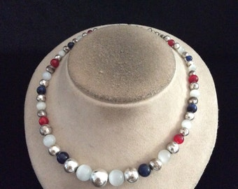 Vintage Red White & Blue Glass Beaded Necklace