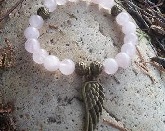 """Rose quartz """"Angel"""" beaded bracelet"""