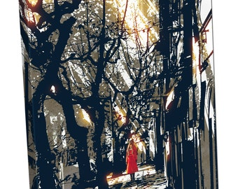 woman in red coat standing on pathway in city park Print on canvas XT2642