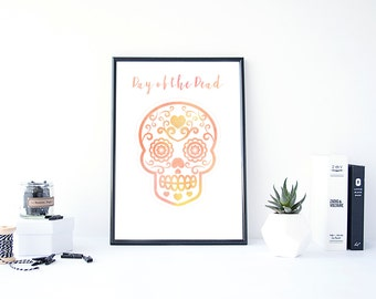 Sugar Skull Art, Pink, Watercolour,Instant Download, Day of the Dead, Skull Print, dia de los muertos,Wall Art, Haloween,Digital Print,Skull