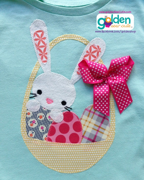 Easter Bunny in an Easter Basket, Easter Egg, Girl Spring Tee