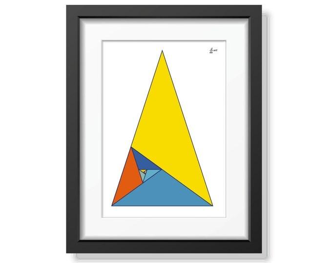 Fibonacci triangles 03 [mathematical abstract art print, unframed] A4/A3 sizes