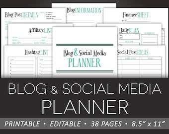 Blog & Social Media Planner – Editable Printable PDF - Schedule Finances Checklists Business Tracker Goals - Aqua / Black - INSTANT DOWNLOAD