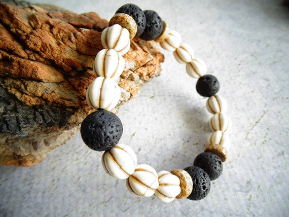 Howlite,Lava Stone and Picture Jasper Mens Gemstone Bracelet,Hippie,Festival,Healing Stone,Power Stone,Zen,No Metal
