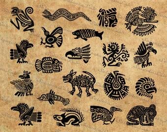 Digital SVG PNG aztec, inca, maya, tribal mask, clipart, silhouette, vector, instant download