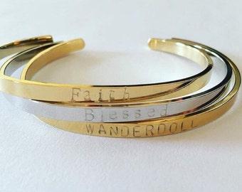 thin gold bangle custom personalized stamped bracelet