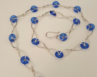 Handmade Sterling Silver Necklace with Cobalt Blue Czech Glass Beads Links