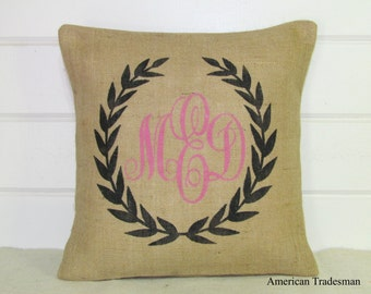 Monogrammed  Pillow, Burlap Pillow, Shabby Chic, Personalized Pillow, Custom Pillow