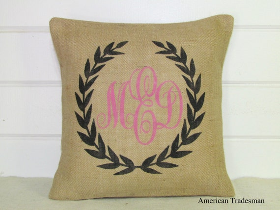 Monogrammed Pillow Burlap Pillow Shabby Chic Personalized