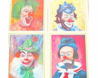 Vintage Clown Lithos by Michele-Set of 4 (2 sets included)