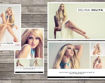 Fashion Model Comp Card   Modeling Comp Card   Instant Download Photoshop File