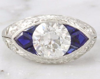 Elena- Old European Cut Diamond and Sapphire Engagement Ring