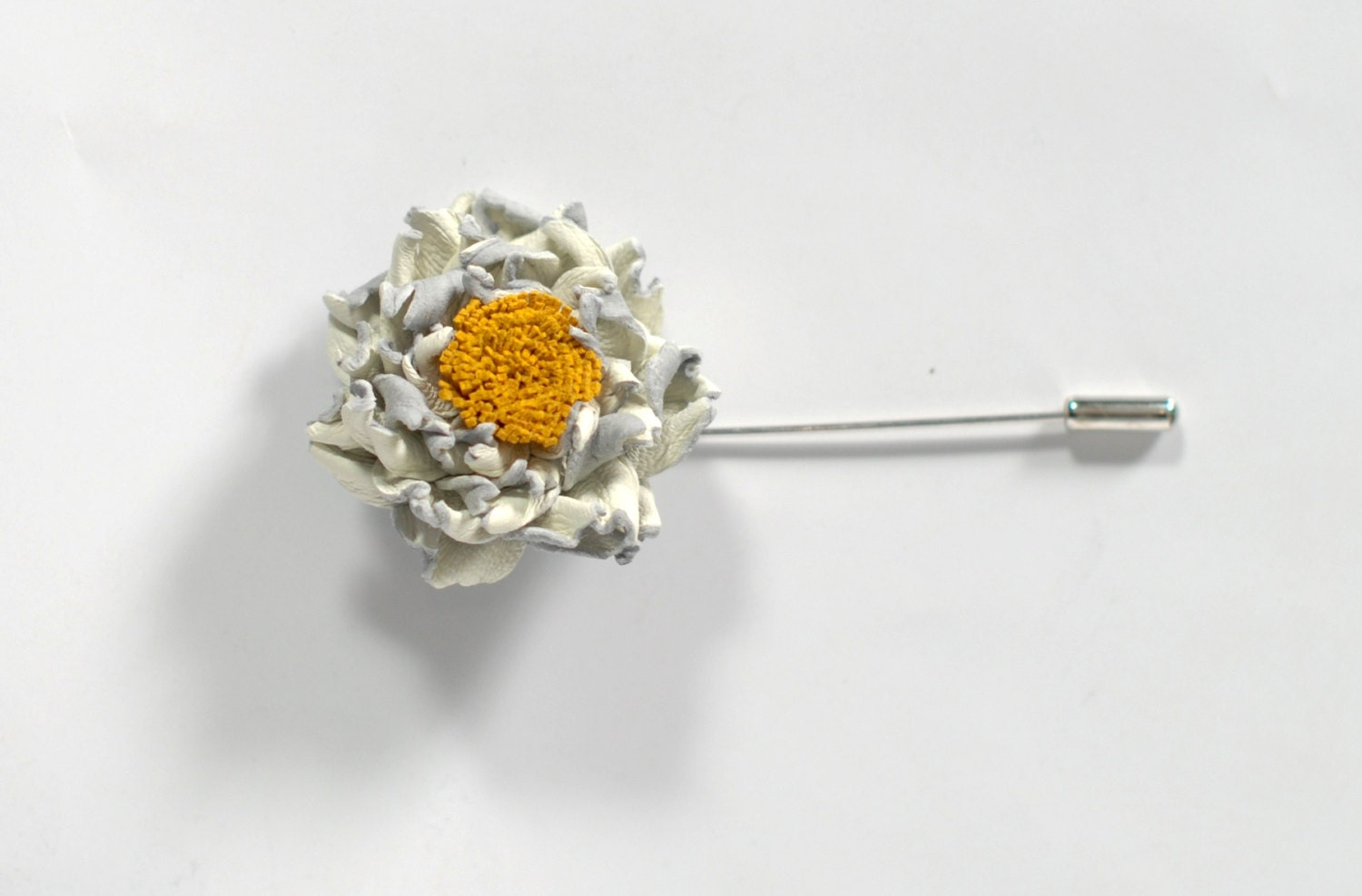 Flower Lapel Pin ivory Brooch wedding Boutonniere leather