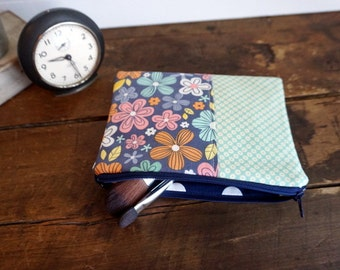 Medium Flat Make Up Bag, Zipper Pouch, Travel Bag, Navy, Pink and Coral Flowers and Green Flower Print