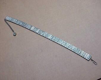 Art deco vintage chocker rhinestone baggetts pronged in rhinestones necklace #137