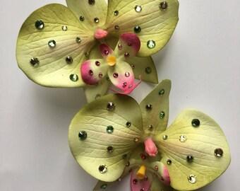 Swarovski green orchid hair clip