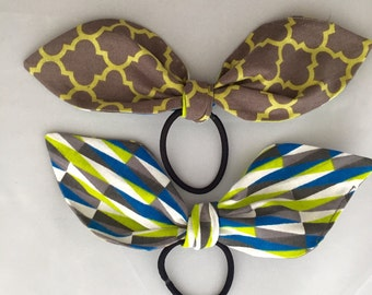 Handmade fabric hair bow tie lime and grey