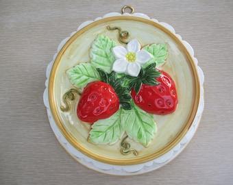 "ceramic strawberry wall hanging strawberry jello mold 8.5"" 2"" deep"