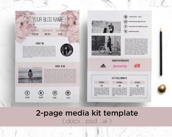 2 page media kit template ( floral background ) / elegant blog press kit / modern 2 page media kit / creative media kit template