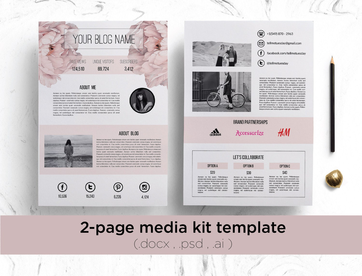 2 page media kit template floral background    elegant blog