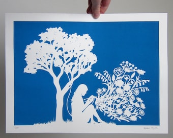 16x12 inch Screen Print of my Hand-cut 'Knitting Flowers' Papercut, Hand Printed Original Meadow Artwork